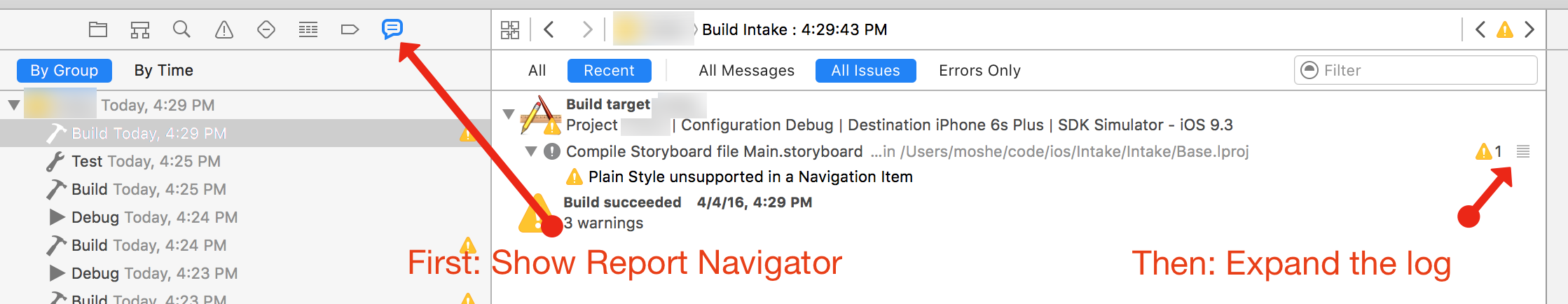 A screenshot of Xcode's report navigator with a collapsed log.