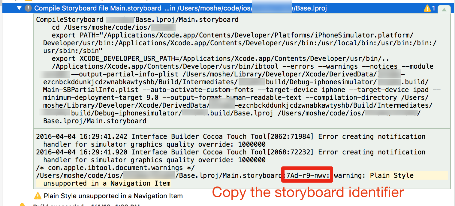 A screenshot of Xcode's report navigator with an expanded log.
