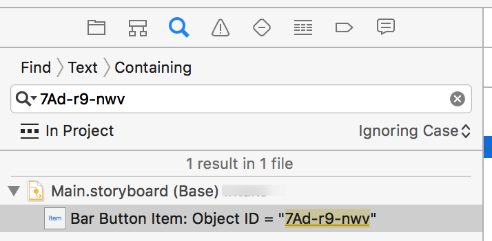 A screenshot of a storyboard identifier pasted into Xcode's project-wide search box.